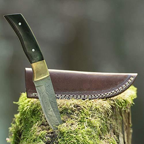 elToro Brass Horn - Damast - Jagdmesser - 11cm - inkl. Lederscheide