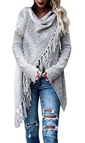 AIYUE Mantello Donna Poncho con Cardigan Incappucciato Pullover Maglione Irregolare Orlo Scialle Maglie