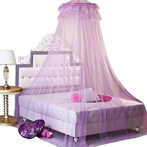 GYBest Round Lace Curtain Dome Bed Canopy Netting Princess Bed Net (Purple)