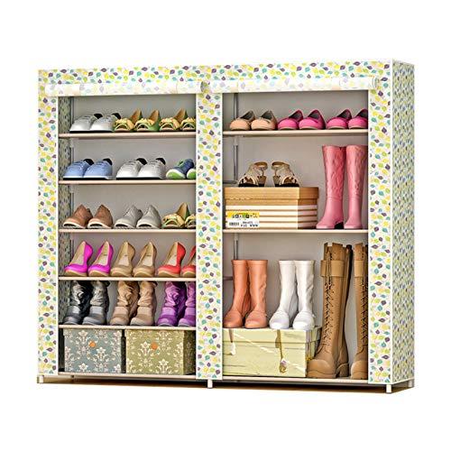 Jianghuayunchuanri Zapatero de doble fila, no tejido, zapatero, bolsa de almacenamiento, portátil, para encontrar fácilmente tus propios zapatos (color: hojas, tamaño: 120 x 30 x 108 cm)