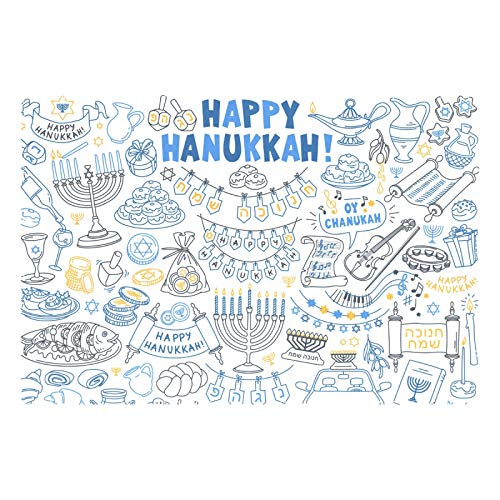Aflyko Hanukkah Star of David Placemat Dining Table Place Mats 18' × 12' Home Decor 1 Pack