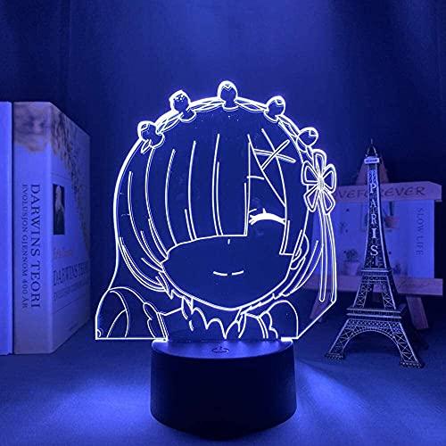 ZHAHAPPY Lámpara de Noche 3D -3D ilusión lámpara Anime re Cero Vida en Otro Mundo Luz de Noche LED para la decoración de la habitación Regalo de la luz de la Noche Re No Love REM Light