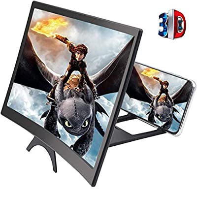 Cinyiuze 12'' 3D Curved Screen Magnifier for Mobile Phone, HD Magnifier Projector Screen Enlarger for Videos, Movies, Games, Foldable Phone Stand with Screen Amplifier, Compatible with All Smartphones from Cinyiuze