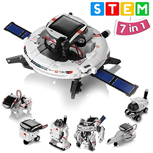Solar Robot Toys 7 in 1 STEM Learning Kits Educational Space Moon Exploration Fleet Building Experiment Toys DIY Solar Power Science Gift for Kids Aged 8-12