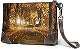 Carteras Women's Leather Wristlet Clutch Wallet Autumn Forest Storage Purse with Strap Zipper Pouch