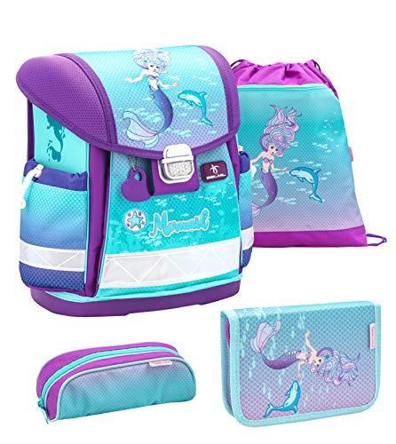 Belmil Schulranzen Set 4 - teilig ergonomischer Schulranzen Mädchen 1. klasse 2. klasse 3. klasse - Super Leicht 850-940 g/Grundschule/Meerjungfrau/lila,türkis (403-13 Purple Mermaid)