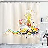 Cortina de ducha por lunarable Hippie, Hippie Van paz y amor Rainbow Colored silueta de mujer Vintage Sixties inspirado, cuarto de baño Set de decoración de tela con ganchos, multicolor