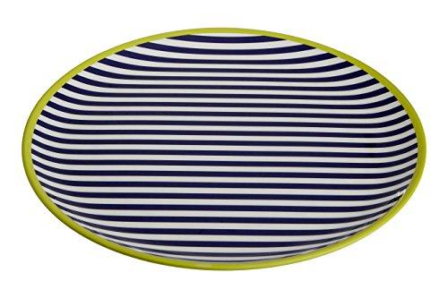 Premier Housewares MIMO à Rayures Plateau, Mélamine, Multi/colorées, 36 x 36 x 2 cm