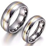 JewelryWe Schmuck 1 Paar Wolfram Wolframcarbid Gold Rille in der Mitte Partnerringe Freundschaftsringe Eheringe Trauringe Verlobungsringe...