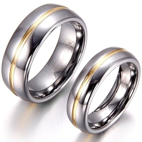 JewelryWe Schmuck 1 Paar Wolfram Wolframcarbid Gold Rille in der Mitte Partnerringe Freundschaftsringe Eheringe Trauringe Verlobungsringe Band, Silber