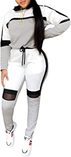 Women Color Block 2 Pieces Outfits Sweatsuit Long Sleeve Sweatshirt and Skinny Long Pant with Pockets Set Tracksuits