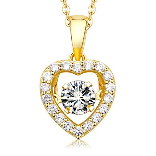MEGA CREATIVE JEWELRY Collar Oro Corazón para Mujer Plata 925 con Cristales Swarovski