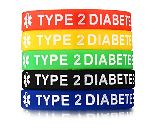 Mealguet Jewelry 5 Pack Assorted Colors Medical Alert ID¡° Type 2 Diabetes¡± Silicone Bracelets Wristband for Men,7.5'