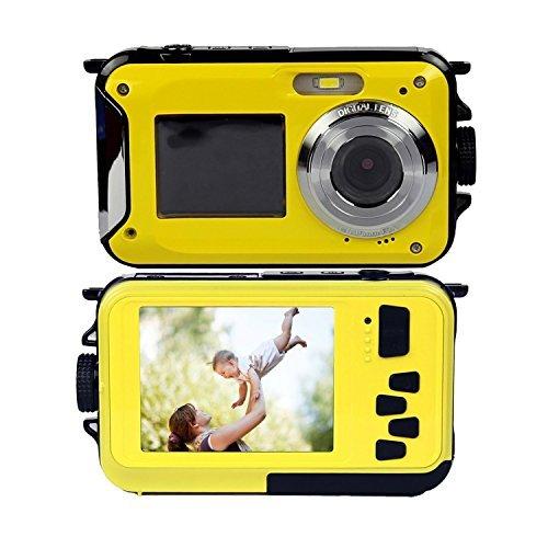 PowerLead PLDH19 Double Screens Waterproof Digital Camera 2.7-Inch Front LCD Easy Self Shot Camera (yellow)