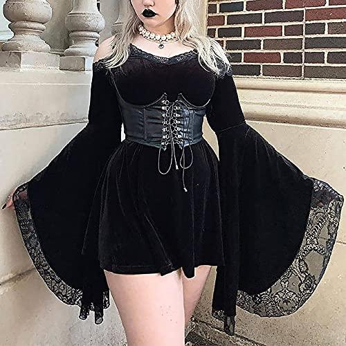 AUUUNN Disfraz de Halloween para Mujer Steampunk gtico Victoriano Vestido Corto de Gran tamao Mangas Acampanadas Vestido de Encaje con Honda Bruja Halloween