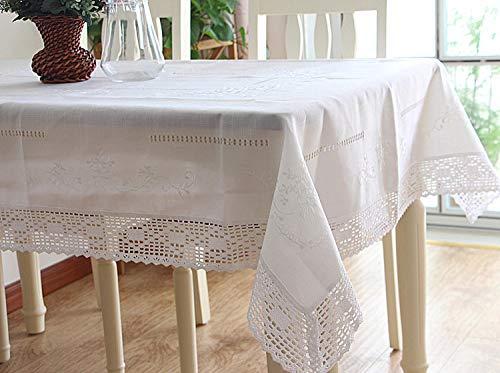 WFSDKN tafelkleed Wit Kant Dineren Tafelkleed Handgetekende Garen Geborduurd Tafelkleed Katoen Linnen Tafelkleed Koelkast TV Cover