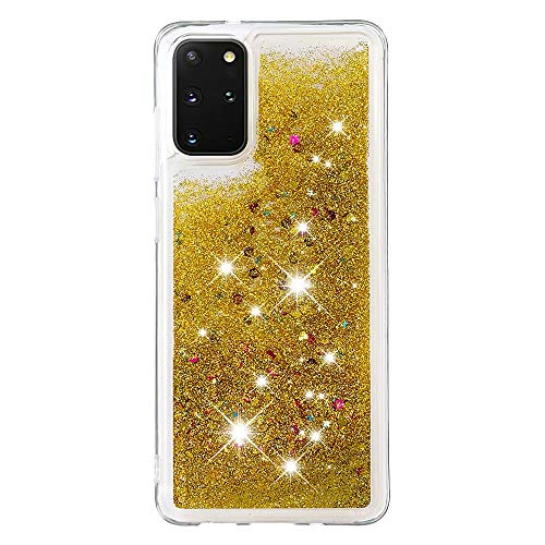 Lvnarery iPhone 11 Pro Case,Clear Liquid Glitter Case Bling Shiny Sparkle Flowing Shockproof Soft TPU Bumper Shell Slim Cover for iPhone 11 Pro,Gold