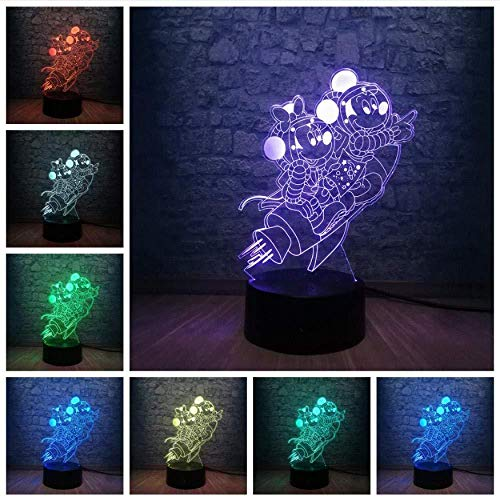giyiohok Lampe 3D Cartoon Mickey Mouse Minnie Friends of Rocket LED Night Light 7 Changement de couleur USB Base Christmas Decorative Kid Gift Toy