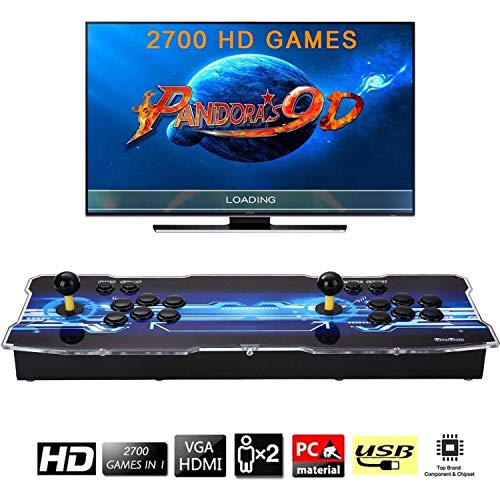 [2700 HD Retro Games] Pandoras Box 9D Arcade Video Game Console 720P Game System with 2700 Games Supports PC TV 2 Players