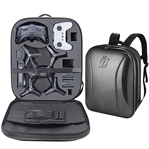 PONYRC Professional Hard Case for DJI FPV Combo Drone, Waterproof Shockproof Backpack Bag for DJI FPV Fly More Kit Drone (FPV Drone Backpack)