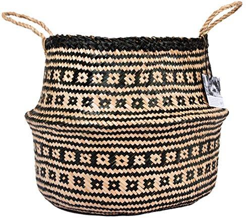Handmade Seagrass Basket Belly Basket - Extra Large 34cm x 40cm | Boho Decor | Seagrass Storage Basket | Seagrass Plant Pot | Dog Toy Basket | Large Plant Pot Seagrass Planter