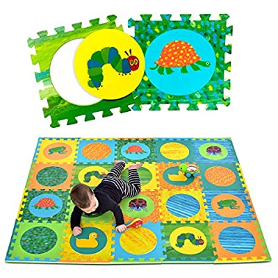 "Eric Carle Interlocking Baby Play Mat, Very Hungry Caterpillar Foam Floor Tiles for Infants and Children, 52"" x 65"""
