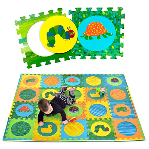 Eric Carle Interlocking Baby Play Mat, Very Hungry Caterpillar Foam Floor Tiles for Infants and Children, 52' x 65'