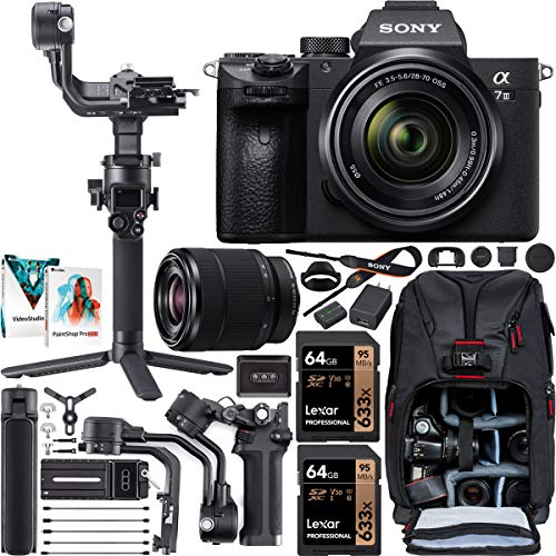Sony a7 III Full-Frame Alpha Mirrorless Digital Camera a7III + 28-70mm Lens ILCE-7M3/K Filmmaker's Kit with DJI RSC 2 Gimbal 3-Axis Handheld Stabilizer Bundle + Deco Photo Backpack + Software