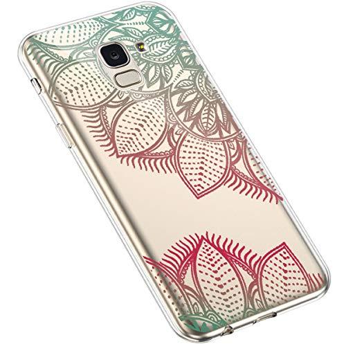 Uposao Kompatibel mit Samsung Galaxy J6 2018 Handyhülle Transparent mit Muster Motiv TPU Silikon Schutzhülle Case Crystal Clear Handytasche Dünn Stoßfest Bumper Backcover,Grün Rot Sonnenblume