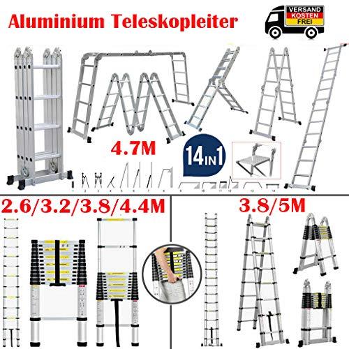 4.7M Aluminium Teleskopleiter und Klappleiter mit Gerüstplatten 4 x 4 Sprossen Gerüstleiter Stehleitern 150 KG/330 Pfund Belastbarkeit