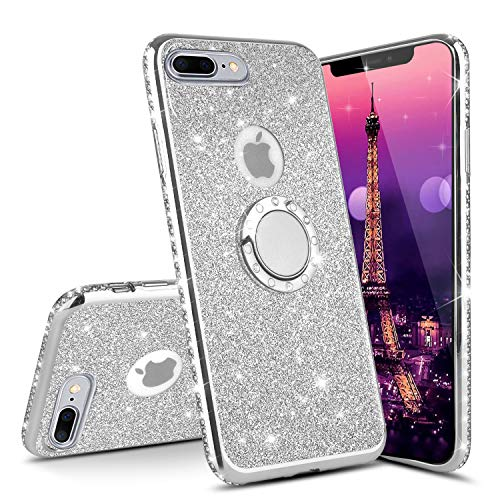 ISADENSER for iPhone 7 Plus Case iPhone 8 Plus Case Ultra-Slim Glitter Bling Diamond Luxury Plating Silicon TPU Soft Cover with Ring Stand Holder for iPhone 7 Plus,Silver TPU with Stand Holder