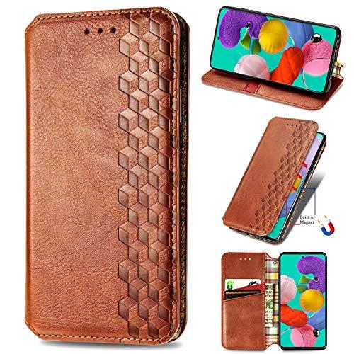 Miagon Samsung Galaxy A10 Mode Hülle,Retro PU Leder Flip Brieftasche Abdeckung Magnetverschluss Folio Ständer Kartensteckplätze Handyhülle,Braun