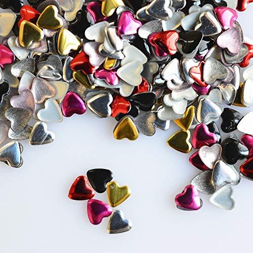 Meiyy nageldecoratie 1000 stuks/verpakking nail art decoratie neon kleur klinknagels hart 4 mm metalen studs beauty gereedschap manicure