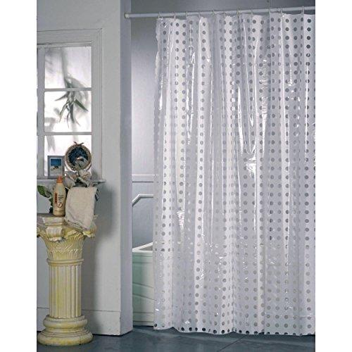 MSV Duschvorhang Pünktchen aus Polyvinylchlorid 200x180cm in weiß/transparent, Mehrfarbig, 30 x 20 x 15 cm
