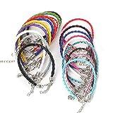 Cordón de Pulsera de Cuero,24 PCS Cuerdas Trenzadas de Cuero PU Niña Pulsera con Cierre de Langosta Cordones de Bricolaje para Fabricación Manualidades