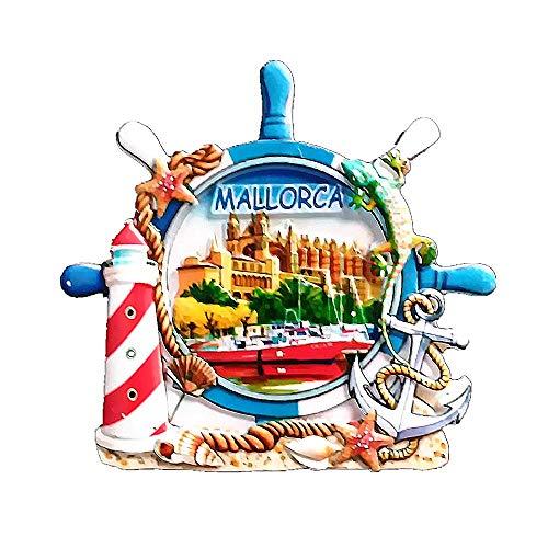 Mallorca España imán para nevera 3D recuerdo de viaje, colección de regalo para el hogar y la cocina, pegatina magnética para nevera Mallorca