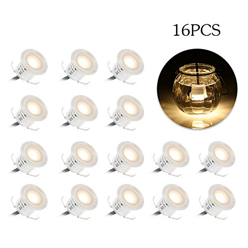 Tomshine 16 Pack Recessed LED Deck Light Kit, High Bright In Ground Outdoor Landscape LED Lighting for Stair Patio Garden Floor Corner Sauna Room Bathroom, Waterproof IP67, 12V Low Voltage Safe