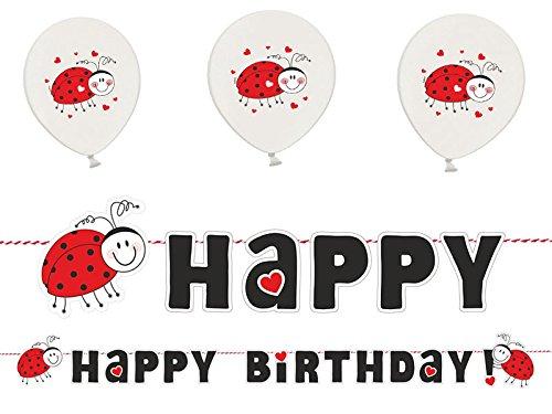 Kindergeburtstag Deko Set MARIENKÄFER Happy Birthday Girlande & 6 Luftballons Mädchen Dekoration