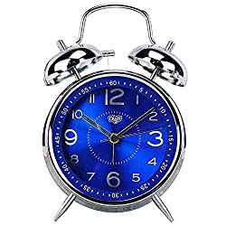 Monique 4 Inches Loud Twin Bell Metal Alarm Clock Silent Analog Quartz Battery Operated Bedsides Clock for Heavy Sleepers Blue