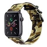 For Apple Watch バンド, Fintie 編みナイロン 時計バンド 交換ベルト アップルウォッチ交換ストラップ iWatch Apple Watch SE/Series 6 / Series 5 / Series 4 44mm, Series 3 / Series 2 / Series 1 42mm 対応 (カモグリーン)