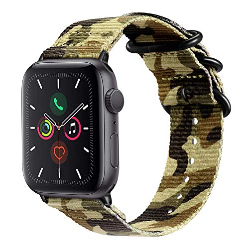 Fintie Band Compatible with Apple Watch 44mm 42mm Series 6/5/4/3/2/1 iWatch SE, Lightweight Breathable Woven Nylon Sport Wrist Strap with Metal Buckle Compatible All Versions 44mm 42mm Apple Watch, Ca