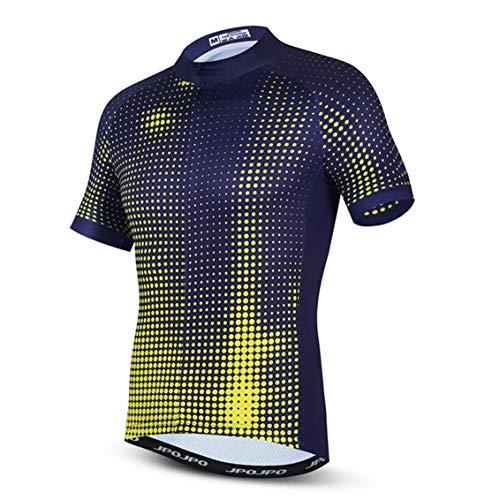 Hotlion Maillot de ciclismo de verano cómodo para hombre con 3 bolsillos traseros, absorbe la humedad, transpirable