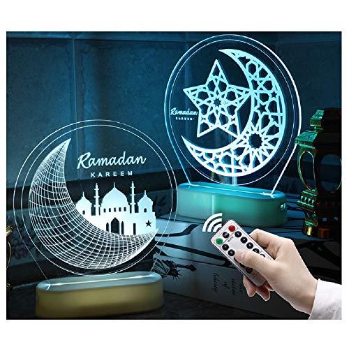 Ramadan Eid Mubarak Ornaments Muslim Multicolored Table Light Crafts Desktop Decoration Religious LED Color Changing Night Light w/ Remote Control (Castle)