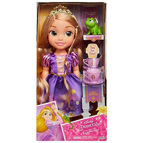 Jakks Pacific Disney Princesa Rapunzel 35 cm y Pascal con Set de Té para Dos Tea Time