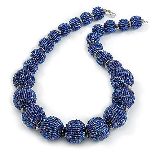 Avalaya - Collana con perline di vetro blu pavone, con chiusura argentata, lunghezza 60 cm