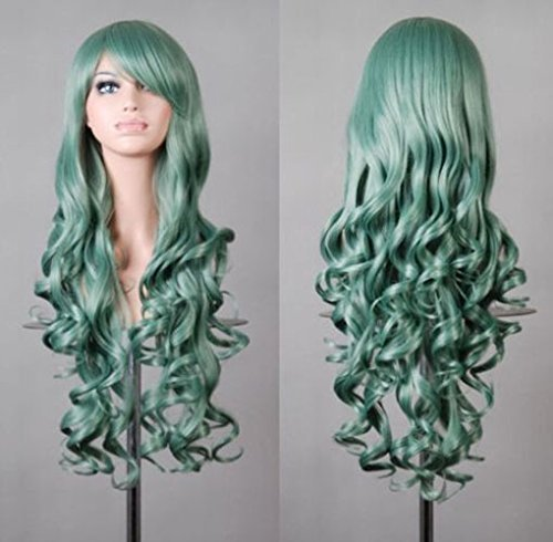 Beauty Smooth Hair 80cm Spiral Curly Cosplay Perücke (grün)