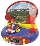 LEXIBOOK Reloj Despertador con Proyector de Mario Kart Nintendo-con Luz Nocturna y Proyección de Tiempo en el Techo, Efectos de Sonido, Niñas, Azul/Rojo