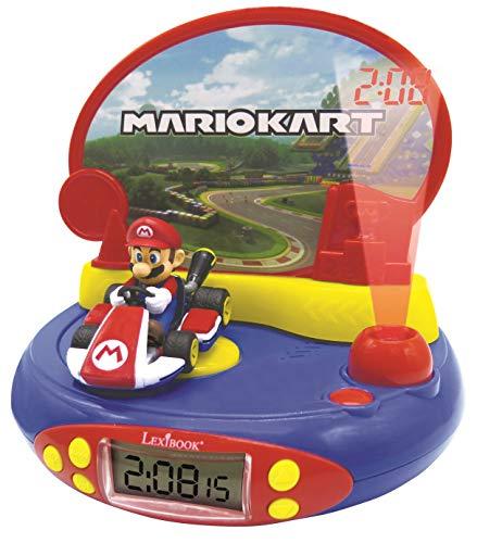 LEXIBOOK- Reloj Despertador con Proyector de Mario Kart Nintendo-con Luz Nocturna y Proyección de Tiempo en el Techo, Efectos de Sonido, Niñas, Azul/Rojo