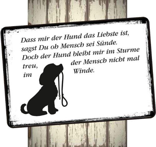 Creativ Deluxe Hundeschild - Türschild Vintage Schild Dekoschild Wandschild Tierschild Holzschild Geschenk Hund - Das Mir der Hund das Liebste ist.