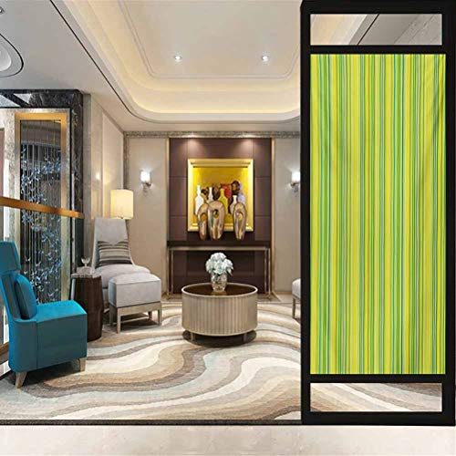 23.6' W x 35.4' L inches,Window Film,Static Cling Window Sticker,Lime Green,Pastel Toned Vertical Bands Striped Lines Geometric Figures Soft Print,Pale Green Yellow